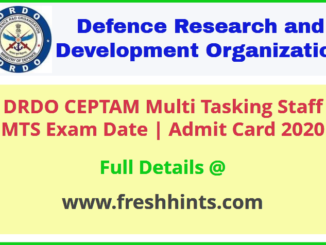DRDO Multi Tasking Staff Admit Card 2020