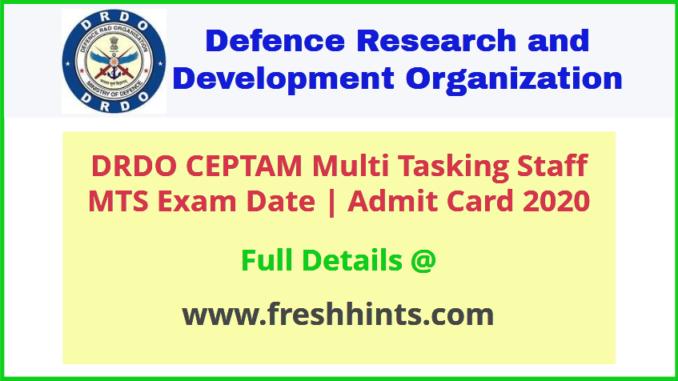 DRDO Multi Tasking Staff Admit Card 2020