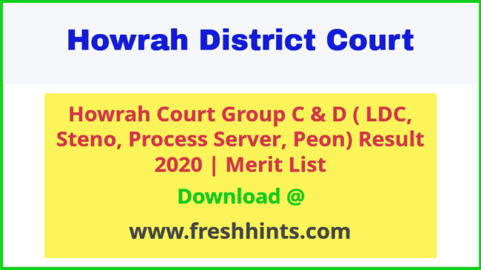 Howrah District Court Group C and Group D Result 2020