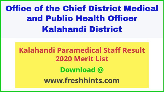 Kalahandi Paramedical Staff Result 2020