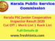 KPSC Junior Cooperative Inspector Results 2020