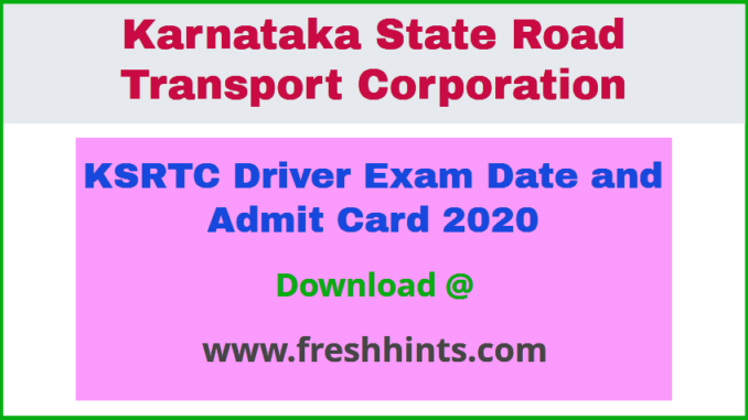 KSRTC Driver Hall Ticket 2020