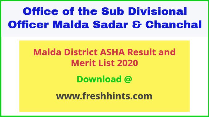 Malda District ASHA Result 2020