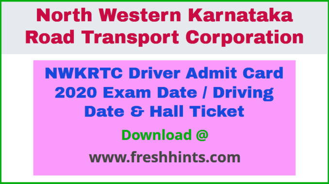 NWKRTC Driver Hall Ticket 2020