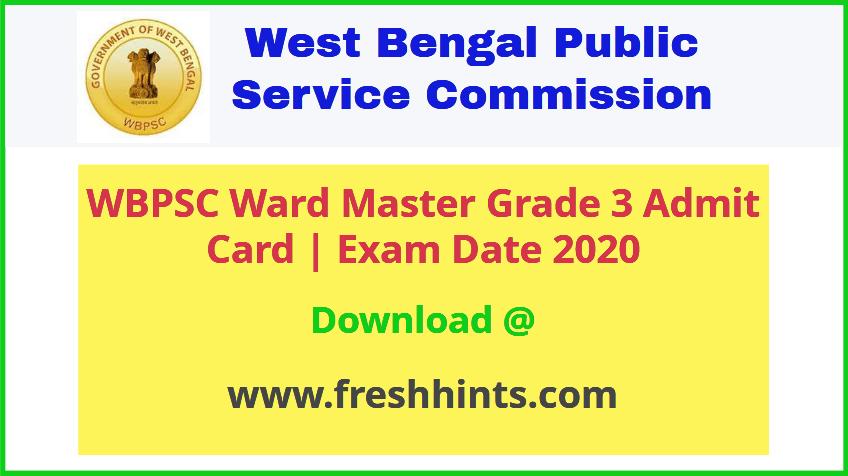 PSC Ward Master Grade 3 Admit Card 2020
