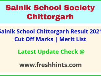 Sainik School Chittorgarh Clas 6 and 9 Admission List 2021