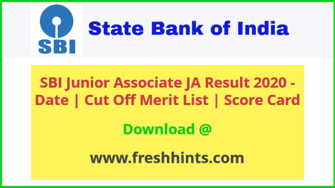 SBI Junior Associate Pre Results 2020