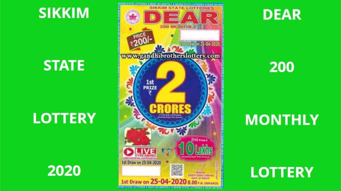 Sikkim Dear 200 Lottery Result 2020