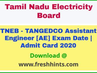 TNEB Assistant Engineer Admit Card 2020