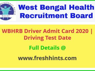 WB Health Driver Admit Card 2020