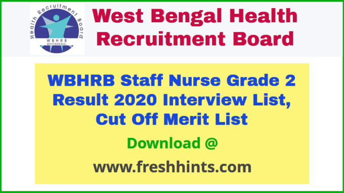 WB Health Staff Nurse Result 2020