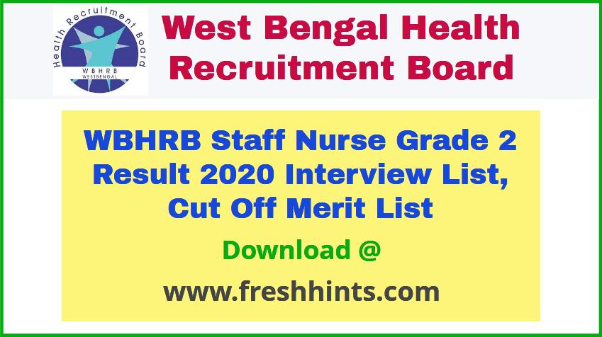 WB Health Staff Nurse Result 2020