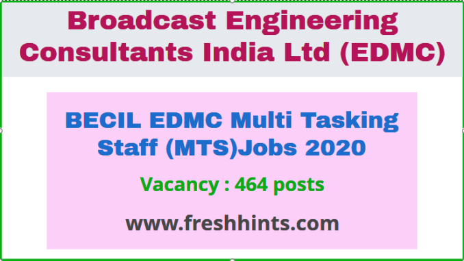 BECIL EDMC Multi Tasking Staff (MTS) Jobs 2020