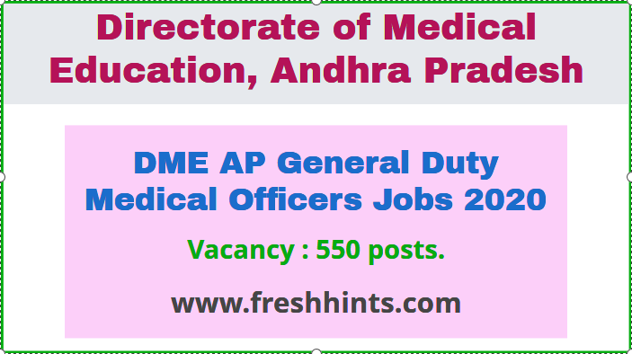 DME AP General Duty Medical Officers Jobs