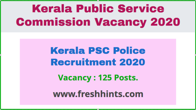 Kerala PSC Police Recruitment 2020