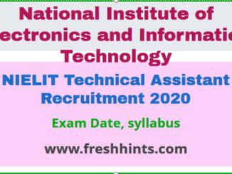 NIELIT Technical Assistant A Recruitment 2020
