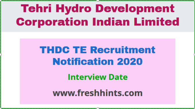THDC TE Recruitment Notification
