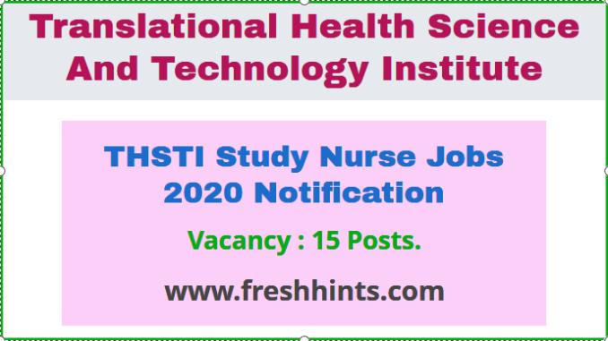 THSTI Study Nurse Jobs 2020