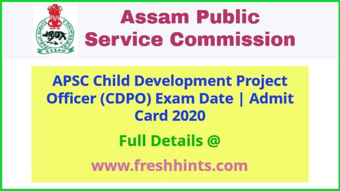 APSC Child Development Project Officer Admit Card 2020