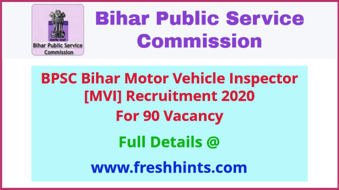 Bihar Motor Vehicle Inspector Recruitment 2020
