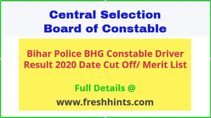 Bihar Police Constable Driver Result 2020