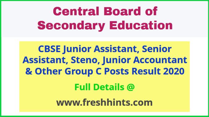 CBSE Group C Result 2020