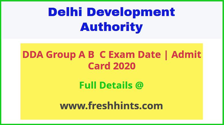 Delhi Development Authority Group A B C Admit Card 2020