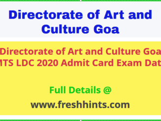 Directorate of Art & Culture Goa LDC MTS Admit Card 2020