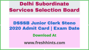 DSSSB Junior Clerk AE Steno Hall Ticket 2021