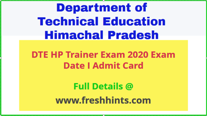 DTE Himachal Pradesh Trainer Admit Card 2020