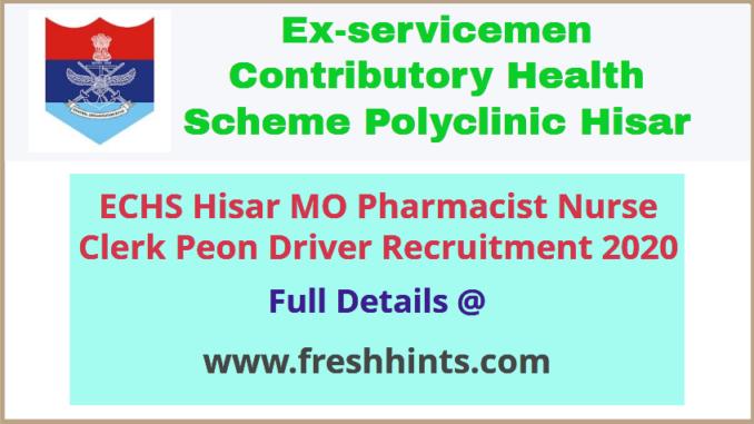 ECHS Staff Nurse Medical Officer & Other Posts Recruitment 2020