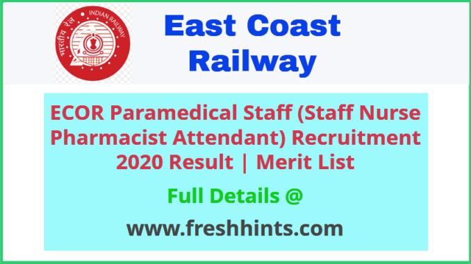 ECOR Staff Nurse Pharmacist Attendant Recruitment 2020