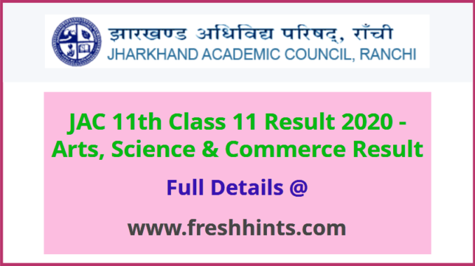 Jharkhand Board Class 11 Result 2020