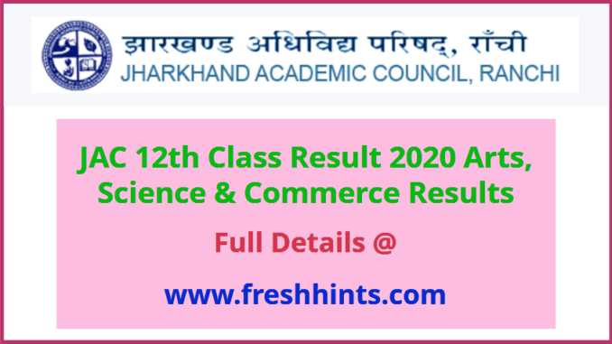 Jharkhand Board Class 12 Result 2020
