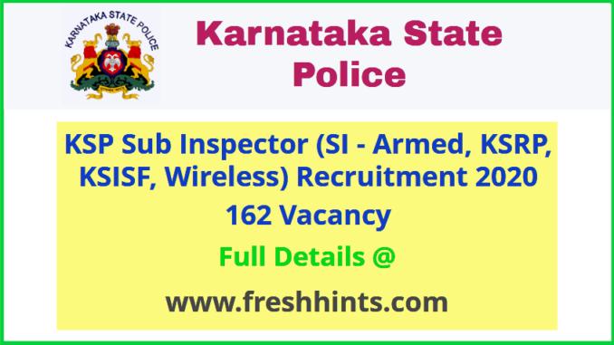 Karnataka State Police SI Recruitment 2020