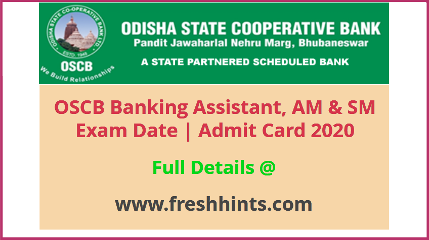 OSCB Banking Assistant Admit Card 2020