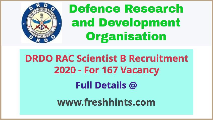 RAC Scientist Recruitment 2020 – Full Details