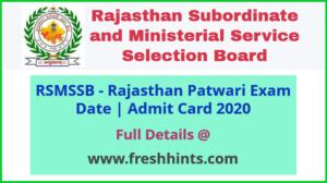 Rajasthan Patwari Admit Card 2020
