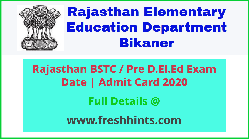Rajasthan Pre DELED Admit Card 2020