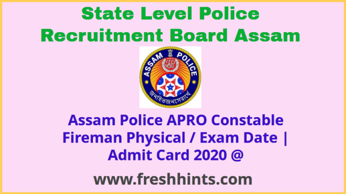 SLPRB Assam Constable Admit Card 2020