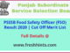 SSSB Punjab Food Safety Officer Result 2020