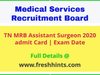 TN MRB Assistant Surgeon Exam Admit Card 2020
