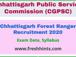 Chhattisgarh Forest Ranger Recruitment 2020
