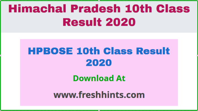 HPBOSE 10th Class Result 2020
