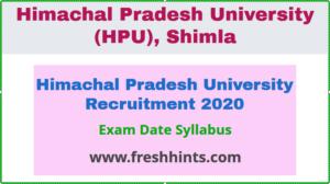 Himachal Pradesh University Recruitment 2020