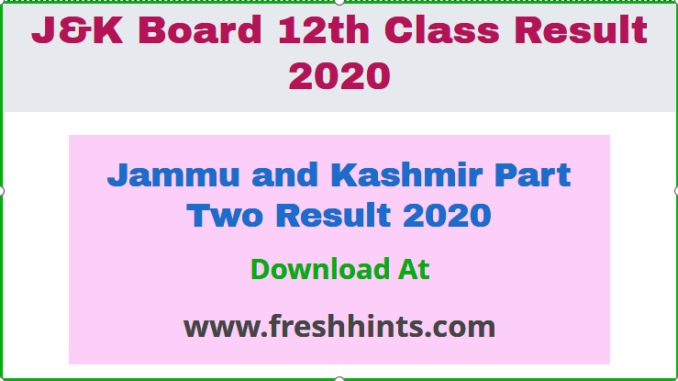 Jammu and Kashmir Part Two Result 2020