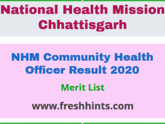 NHM Community Health Officer Result 2020