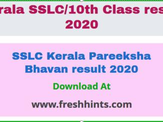 SSLC Kerala Pareeksha Bhavan result 2020