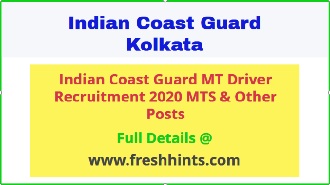Indian Coast Guard MT Driver Recruitment