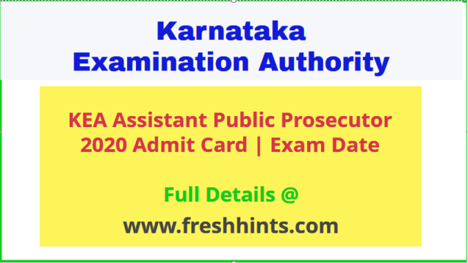 KEA Assistant Public Prosecutor Admit Card 2020